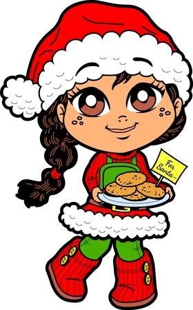 christmas cookie: Cute Young Girl With Cookies For Santa and Santa Hat Illustration