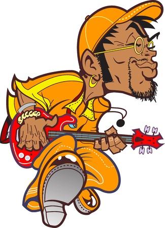 музыка: Канавок Bass Player устанавливающий Funk Иллюстрация