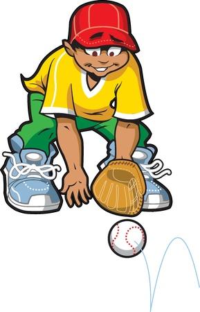 proper: Buon Baseball Softball fuoricampo sempre pronto a catturare una palla a terra