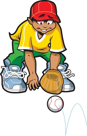 minority: Happy Baseball Softball Outfielder Getting Ready to Catch a Ground Ball Illustration