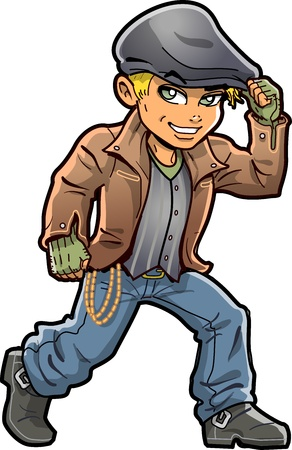 attitude boy: Handsome Young Smiling Blonde Irish Hooligan With Green Eyes Jacket and Cap Illustration