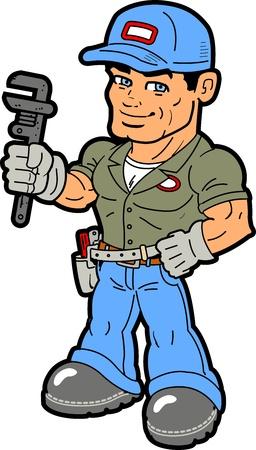 plumber with tools: Sonriendo manitas que sostiene la llave