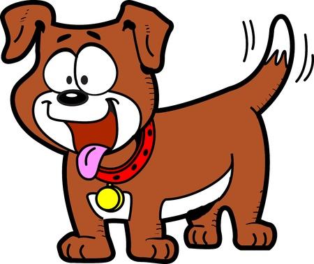 舌を出して、しっぽと幸せな漫画の犬 写真素材 - 20686947