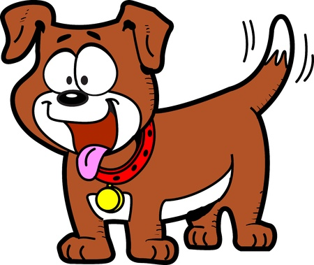Happy Cartoon Dog With Tongue Out and Wagging His Tail Vector
