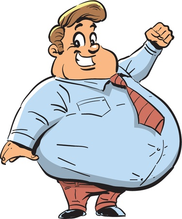 belly fat: Happy Fat Man with Big Smile
