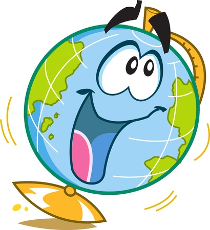 world class: Happy Fun Globe Cartoon Character Illustration