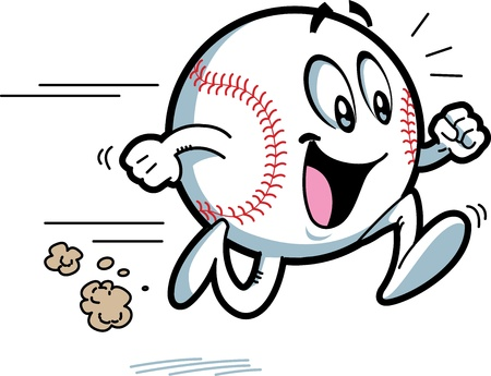 Happy Running Baseball with Big Smile 일러스트