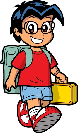 Happy Young Caucasian or Asian Schoolboy Wearing Glasses with Knapsack and Lunch Box Vettoriali