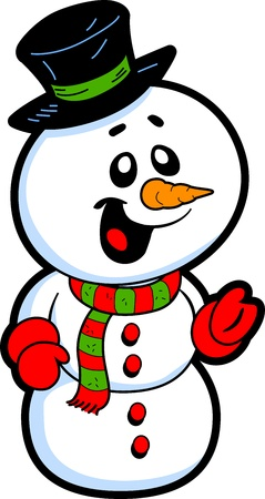 Happy Smiling Snowman with Top Hat and Carrot Nose Vector
