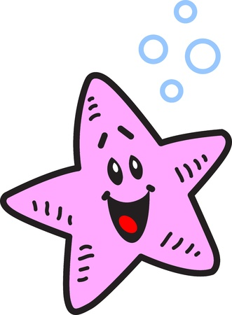 clownfish: Happy Smiling Starfish and Bubbles