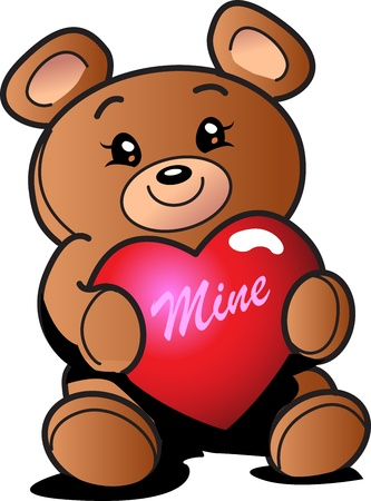 stuffed animals: Cute Valentines Day Teddy Bear with Heart That Says Mine Illustration