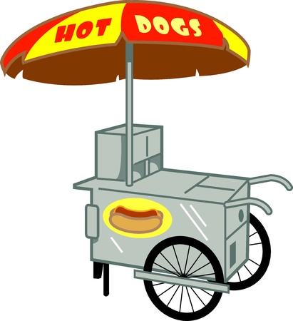 Hot Dog Stand Cart Vendor Vector
