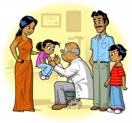 vacunacion: Familia india visitando la oficina y de la hija del doctor, es vacunado