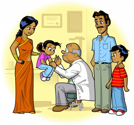 Indian Family Visiting Doctor's Office and Daughter Gets a Shot Vector