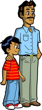 asian family: Indian Father and Son Illustration