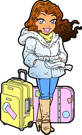 Pretty Female International Traveler With Luggage Vector