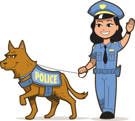 police cartoon: K-9 Police Dog and Asian Female Police Officer Illustration