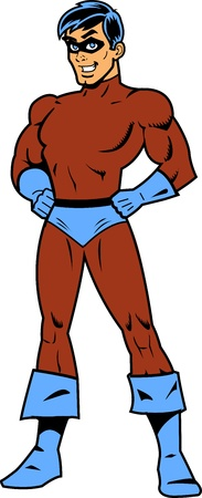 muscular male: Masked Superhero With Arms Akimbo Illustration
