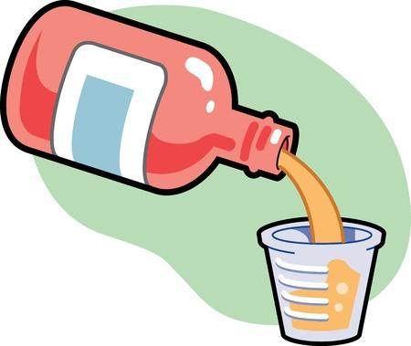 dosaggio: Medicina essere versato in tazza al dosaggio giusto Vettoriali