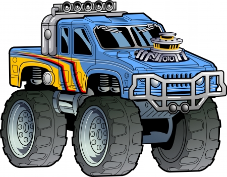Cartoon Illustration of a Monster Truck Illustration