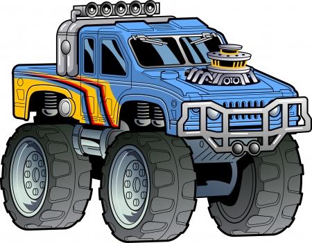 Cartoon Illustration of a Monster Truck Ilustracja