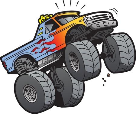 camion caricatura: Ilustraci�n de dibujos animados de un Monster Truck fresca Salto o c�mo hacer un Wheelie Vectores