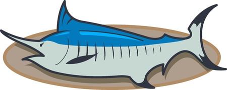 Mounted Marlin Fishing Trophy Illustration