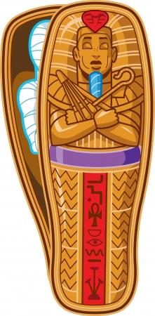 trumna: Starożytny egipski sarkofag faraona Inside z mumii Ilustracja