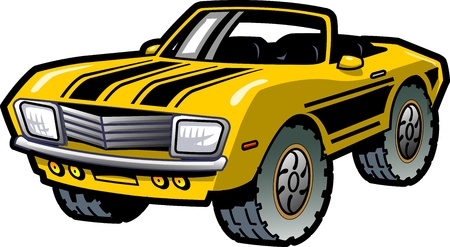 street rod: Cool Retro Yellow Convertible Muscle Car With Black Stripes