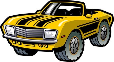 motor racing: Enfriar Retro Convertible amarillo del coche del m�sculo con las rayas negras Vectores