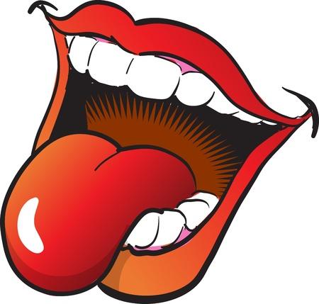 La boca abierta y la lengua Vectores