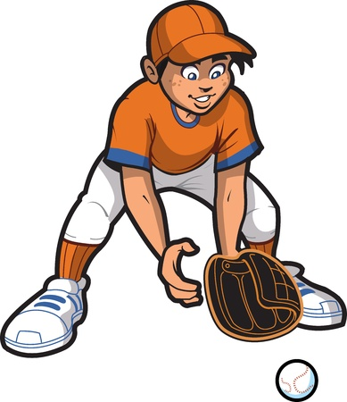 baseball: Young Man Baseball Softball Outfielder Catching a Ground Ball Illustration