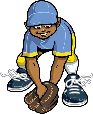 행복한 야구 소프트볼 리틀 리그 외야수는 지상 공을 잡으려고 준비하기 일러스트
