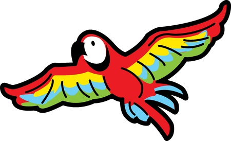 Colorful Tropical Macaw Parrot Flying Illustration