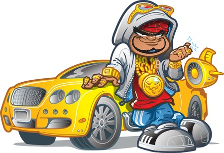 Urban HipHop Pimp Playa With Attitude, Expensive Car and Bling Vector