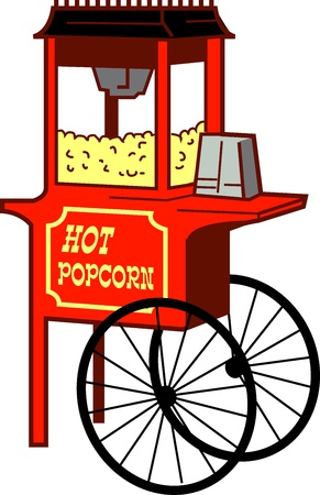 Cartoon Illustration of a Popcorn Machine Vector