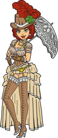 Pretty Steampunk Society Woman With Fancy Parasol
