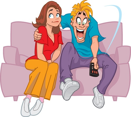 Happy Man on Couch With the TV Remote Control and Unhappy WifeGirlfriend Illustration