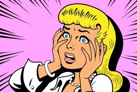 fofoca: Ir�nico ilustra��o sat�rica do cl�ssico retro Comics mulher, sendo a rainha do drama