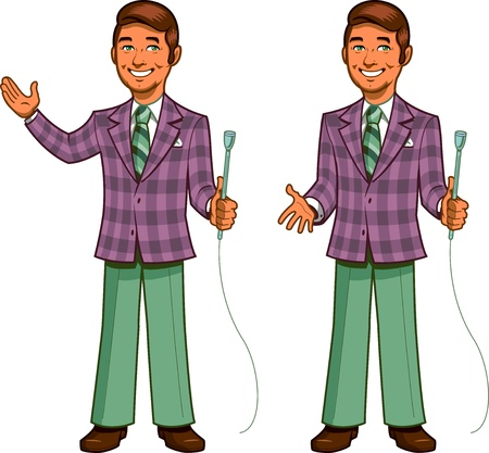安っぽい笑顔と 2 つのポーズでの格子縞のジャケットとレトロな古典的なテレビのゲーム番組の司会