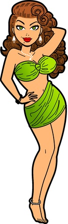 Sexy Vintage Brunette Glamorous Movie Star 일러스트