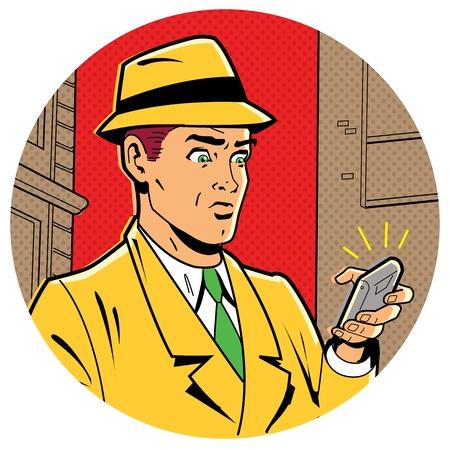 vintage telefoon: Ironische Satirische Illustratie van een Retro Classic Comics Mens Met een Fedora en een moderne smartphone