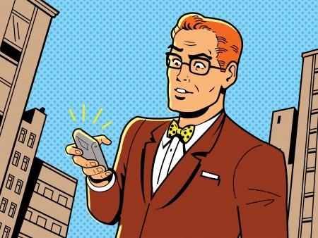 안경 레트로 1940 년대 또는 1950 년대 남자, 나비 넥타이와 현대 스마트 폰의 아이러니 그림 일러스트