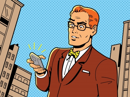 comic book: Ironic Illustration of a Retro 1940s or 1950s Man With Glasses, Bow Tie and Modern Smartphone