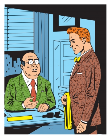 Retro Illustration of an Office Meeting With The Boss Vector