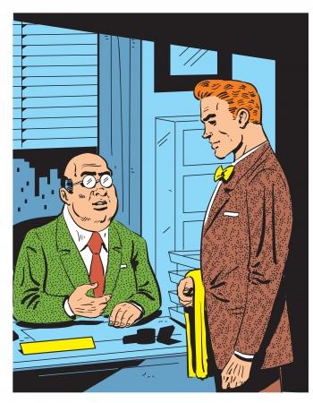 stock agency: Retro illustrazione di una riunione di lavoro con il boss