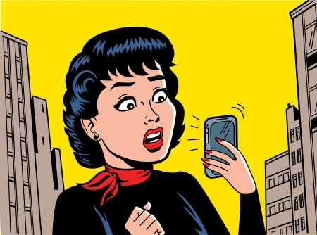 rumours: Ironic Satirical Illustration of a Retro Classic Comics Woman With a Modern Smartphone Illustration