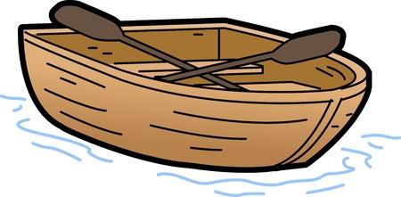 barco caricatura: Bote de remos Ilustraci�n