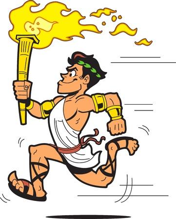 古代ギリシャのトーガを着たランナー トーチ無記名  イラスト・ベクター素材