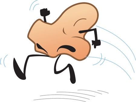 Joke Cartoon of Running Nose Vector
